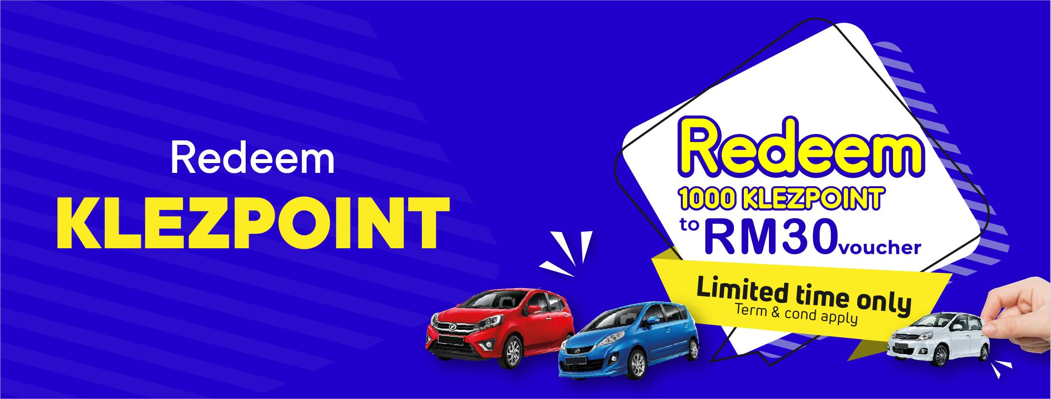 Redeem 1,000 KLezpoint to RM30.00 voucher